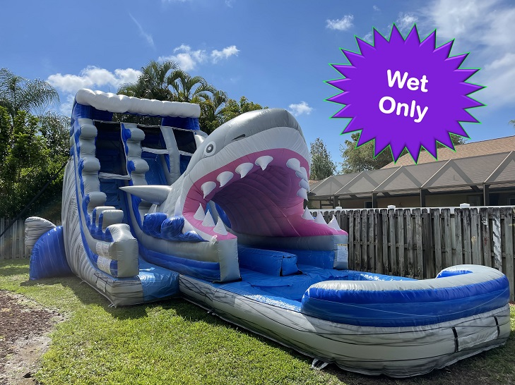 Jaws Shark themed water slide rental in cape coral fl