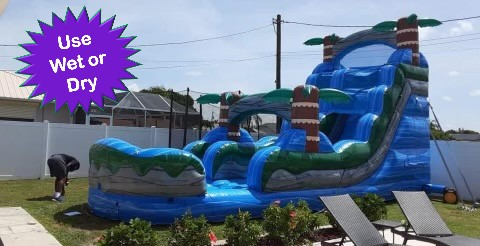 Blue Tropical water slide bounce house rental cape coral florida